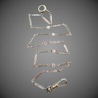 Art Deco 18k White Gold Filigree Diamond Watch Chain