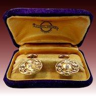 Art Nouveau Cuff Links with Rose Cut Diamonds
