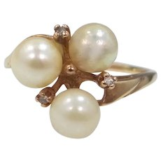 10k Gold Cultured Pearls & Diamonds Size 9 1/4 Ring