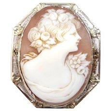 Art Deco 14k White Gold Filigree Carved Shell Cameo Pin / Pendant