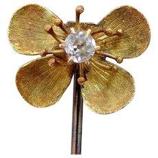 Victorian 14k Gold & Diamond Figural Flower Stick Pin