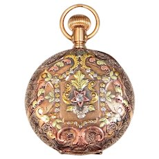 Victorian Diamond,  14k Green Gold, Rose Gold and Platinum Elgin Closed Face Pocket Watch