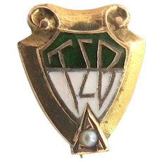10k Gold & Seed Pearl Tau Sigma Beta Fraternity Pin