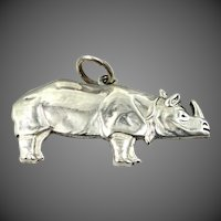 Well Detailed Solid Sterling Silver Rhinoceros Charm Rhino
