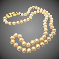 Givenchy Simulated Pearls Hand Knotted Necklace 1977