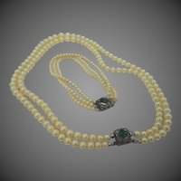 Multi Strand Faux Pearls Bracelet & Earrings Set with Fancy Sterling Clasps