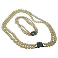 Multi Strand Faux Pearls Bracelet & Earrings Set with Fancy Sterling Clasps