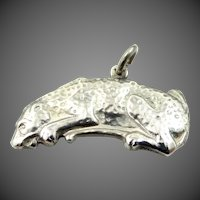 Solid Sterling Silver Spotted Leopard Charm