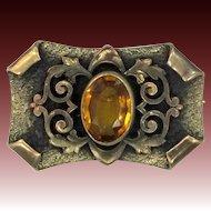REDUCED - Art Nouveau Gilt Brass & Faceted Topaz Glass Pin