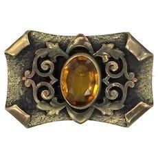 Art Nouveau Gilt Brass & Faceted Topaz Glass Pin