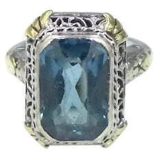 Art Deco 14k White Gold with Yellow Gold Trim Blue Spinel Filigree Ring