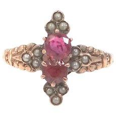 Victorian 10k Rose Gold Seed Pearls, Garnet & Ruby Ring