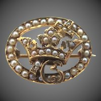 Victorian 14k Gold and Seed Pearls Knight's Templar Masonic Pin