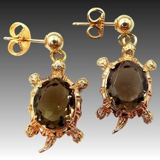 Turtles Dangle Earrings Gold Filled with Quartz Bodies