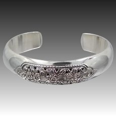 Pretty Pierced Floral Sterling Cuff Bracelet Signed DS