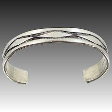 Man's Signed NORA Tahe Solid Sterling Silver Cuff Bracelet