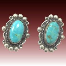 Vintage Sterling Silver Southwestern Clip on Earrings