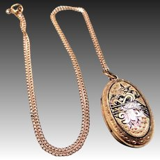 Victorian Taille deEPerne Locket with Dove & Original Chain