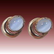 Sterling Vermeil & Moonstone Colored Glass Screw Back Earrings