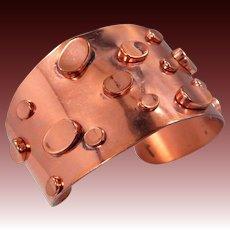 Wide Renoir Studded Copper Cuff Bracelet