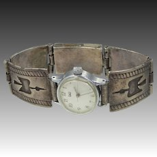 Southwestern Solid Sterling Silver Thunderbird Shadowbox Watch Band