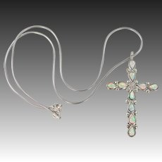 Sterling & Opals Cross Necklace