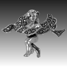 Signed  Judith Jack Sterling Silver & Marcasites Angel Pin
