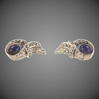 Pretty Genuine Amethysts & Marcasites Sterling Silver Pierced Earrings