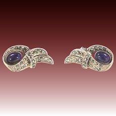 Pretty Genuine Amethysts & Marcasites Sterling Silver Pierced Earrings