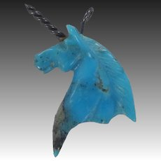Turquoise & Sterling Silver Figural Unicorn Charm or Pendant