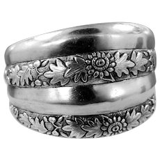 "Victorian Aesthetic Sterling Silver 1 1/2"" wide Floral Bangle Bracelet"