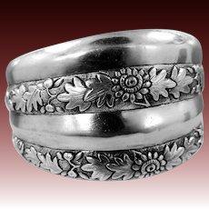 "Victorian Aesthetic Sterling Silver 1 1/2"" wide Floral Bangle Bracelet"