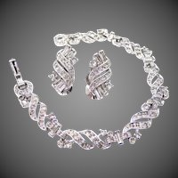 Deco Style Signed PENNINO Rhinestone Bracelet & Matching Earrings