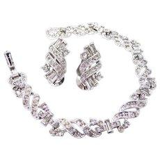 Deco Style Signed PENNINO Rhinestone Bracelet & Matching Earrings
