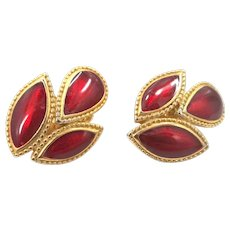 REDUCED - Signed Trifari Gold Tone Rich Red Enamel Clip On Earrings