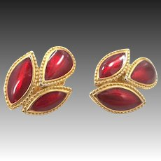 Signed Trifari Gold Tone Rich Red Enamel Clip On Earrings