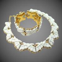 "Trifari Mid Century Thermoplastic ""X"" Pattern Bracelet & Necklace"