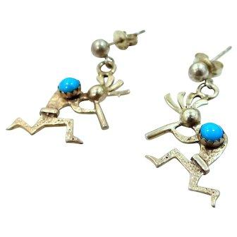 REDUCED - Artist Signed Kokopelli Sterling Silver & Turquoise Earrings