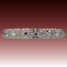 14k White Gold 7 Diamond Wedding Band Stacking Ring Anniversary | Wedding | Stacking | Engagement