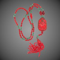 Czechoslovakia Red & Green Glass Max NEIGER Bros. Necklace