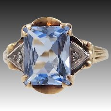 10k Gold Retro Era Blue Spinel & Diamond Lady's Size 8 1/4