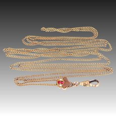 Victorian 10k Gold & Seed Pearls Slide with Gold Filled Chain | Muff Chain | Watch Chain