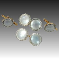 Art Deco 14k Gold, Platinum & Mother of Pearl Cuff Links and Studs