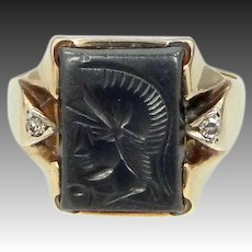 Man's Art Deco 10k Gold Diamonds and Carved Hematite Size 11 1/2 Ring