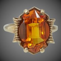 10k Gold 8 Carat Orange Sapphire in Unusual Shape Retro Era Ring