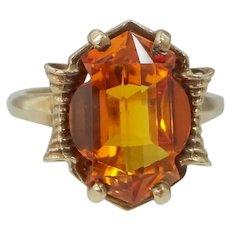 10k Gold 8 Carat Orange Sapphire in Unusual Shape Retro Era Ring