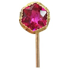 10k Gold Ruby Red Glass Victorian Stick Pin