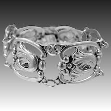 1940's Solid Sterling Silver Bracelet with Danish Influence Signed Wanacraft