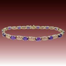 10k Gold & Natural Amethysts Filigree Bracelet
