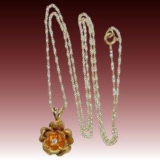 14k Gold & Diamond Figural Rose Necklace
